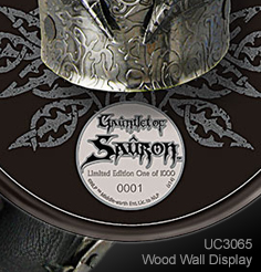 Wall Display Plaque for Officially Licensed Lord of the Rings Gauntlet of Sauron UC3065 by United Cutlery