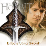 Bilbo Baggins Sting Sword and wall display from United Cutlery The Hobbit: An Unexpected Adventure UC2892