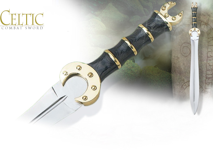 Image of Celtic Leaf Blade Decorative Combat Sword 75-264 BK