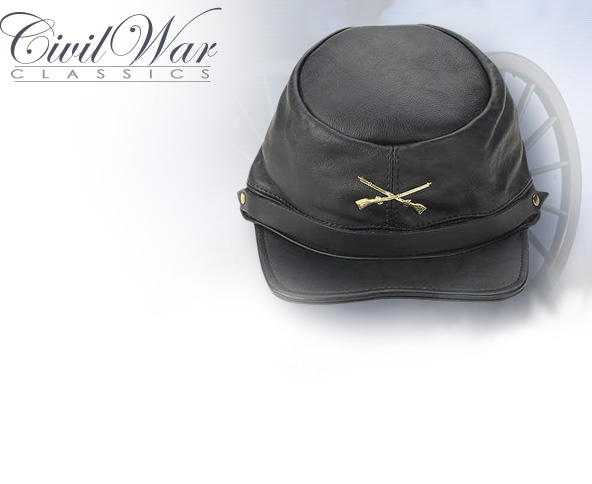 NobleWares Image of Black Leather Civil War Kepi CL140 with insignia