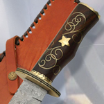 Damascus Rosewood Brass Star Bowie Knife DM1133 by SZCO