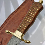 Damascus Rosewood Brass Stud Bowie Knife DM1058 by SZCO