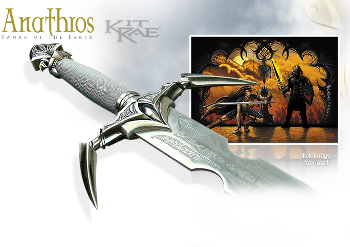NobleWares Image of Kit Rea Sword of Anathros with poster model KR0006 by United Cutlery