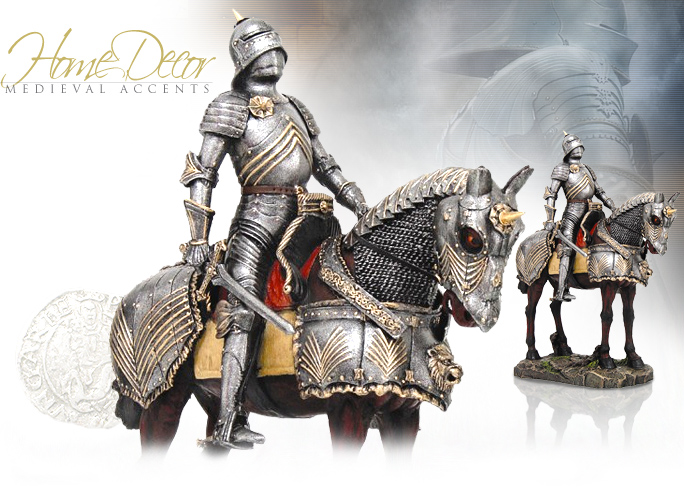 NobleWares Image of Mounted Knight Statue 8504 by Pacific Trading