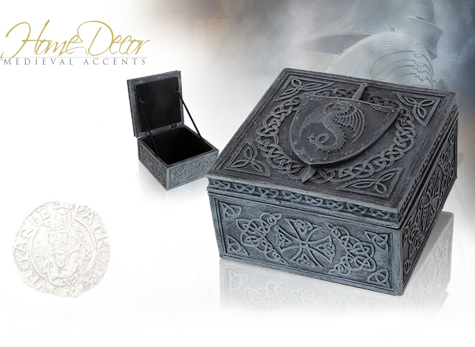 NobleWares Image of Simulated Stone Dragon Shield Box 6409 by YTC Summit