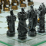 Cast Resin King Arthur Fantasy Chess Set with Glass Chess Board 9382 by Pacifi Giftware