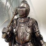 Cast Bronzed Resin Medieval Knight with Mace Statue 9039 by Pacific Trading