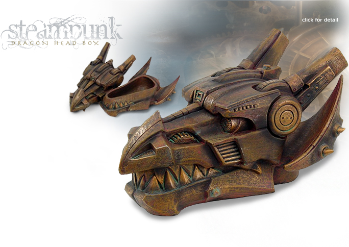 NobleWares Image of Colonel J. Fizziwigs Steampunk Dragon Head Box 8653 by Pacific Trading