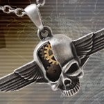 Mystica Steampunk Cyborg Skull Wings Necklace J334 by Pacific Trading