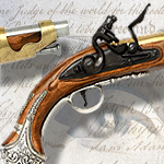 Colonial George Washington non-firing replica Flintlock Pistol model 1228 of the American Revolution