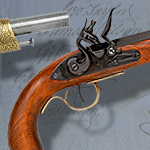 Kentucky Flintlock (round stock) non-firing replica Pistol model 1136L by Denix of Spain