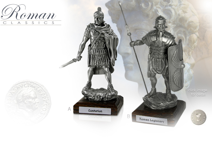 Image of Roman Centurion MEMA040 and Roman Legionary MEMA039 Pewter Statues by Les Etains Du Graal