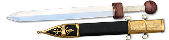 full view image of model AH4211 Pompeii Gladius Style Sword with scabbard by Deepeeka