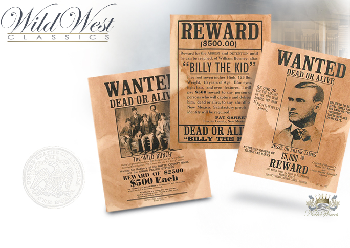 NobleWares image of replica Wanted Poster for Billy the Kid, the Wild Bunch, and Jessie James, set 095 by Denix