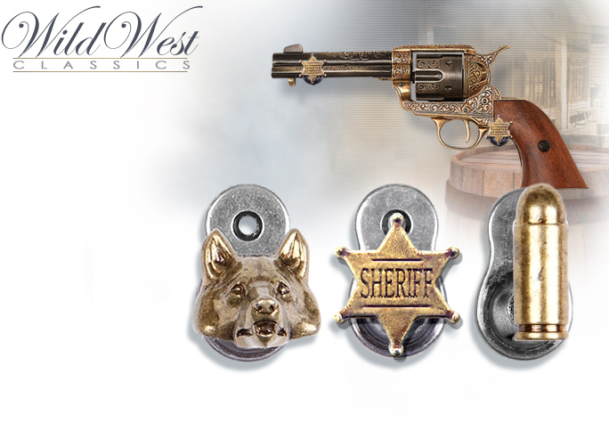 NobleWares image of Denix spring loaded Western hangers, Wolf Head 22-32L 22-32G, Sheriff Badge 22-31, and Bullets 22-30
