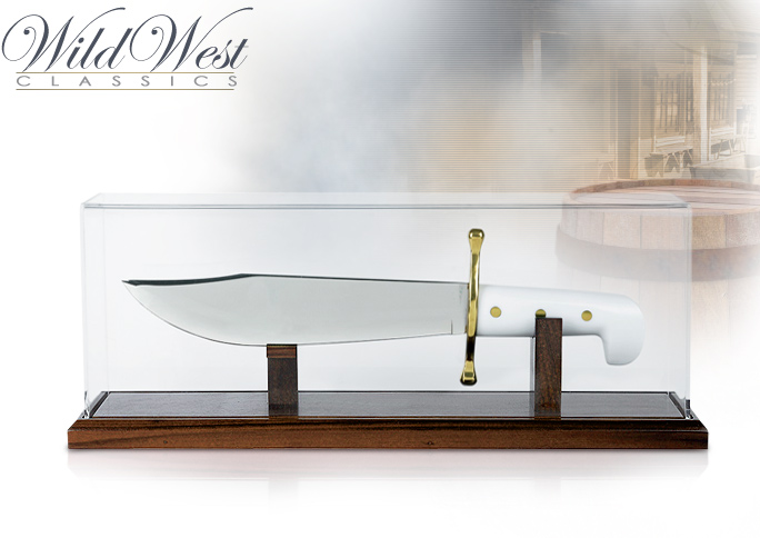 NobleWares Image of Solid Walnut Knife Display Stand with Acrylic Dome & Magnet blade post DC6