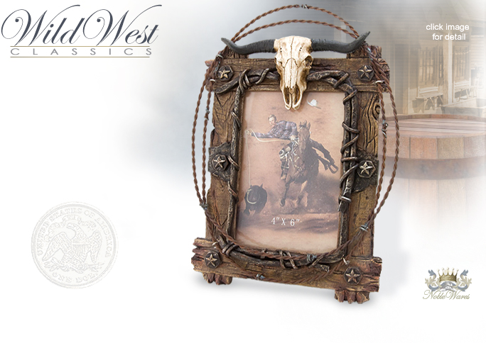 NobleWares Image of Western cast resin fence board 4x6 picture frame with real barbed wire