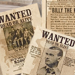 Wanted Poster for Billy the Kid, the Wild Bunch, and Jessie James, set 095 by Denix