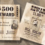 Wanted Poster for Bill Doolin, Thieves and Bunko-steerers, and Jessie James, set 096 by Denix