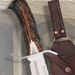 Genuine Stag Handle Bowie Knife HR5000 with Western Sheath by Hen & Rooster