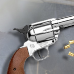 Old West M1873 Nickle Finish 9mm Blank Firing replica revolver 38-161N