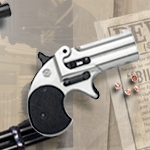 Old West M1866 Nickel or Gold Finish .22 caliber Blank Firing replica Derringers 38-376 and 38-378