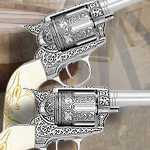 Engraved Ivory Grip M1873 Single action Fast Draw Six shooter 10205 and Cavalry model 10206 by Replicart
