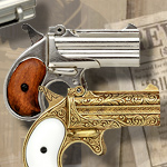 1866 Double Barrel replica non-firing Derringers 1263N Nickel, 1263B Blued, and 1262L Gold Engraved by Denix