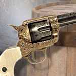 Colt 45 non-firing Gold Engraved Cavalry Revolver replica 1281L by Denix