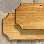 "Blank Stained Pine Display Plaques, 45""x9"", 18""x7"", 16""x7"", 14""X 7"", 10""x5.5"""