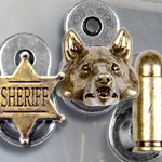 Denix spring loaded hangers, Wolf Head 22-32L 22-32G, Sheriff Badge 22-31, and Bullets 22-30