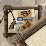 "15"" x 18"" Rustic Barn Wood Pistol Frame with Burlap Back 27-507"