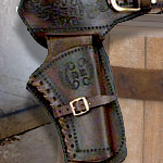 Old West Dual-Tone Single Right Draw Leather Holster 01 by Denix and replica bullets