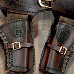 Old West Dual-Tone Double Draw Leather Holster Denix 02 and replica bullets